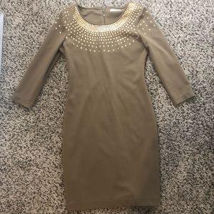 CK gold sequin detail sheath holiday dress